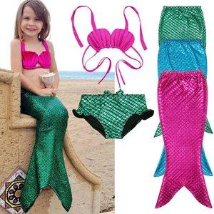 Marca New 3Pcs menina miúdos Cauda da sereia não era para nadar Swimwear Swimsuit Meninas Bikini 2019 Set Terno Máscara Roupa 3-9Y
