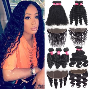 9A Brazilian Human Hair Deep Wave Bundles With Closure 13x4 Ear To Ear Lace Frontal Closure With Bundles Brazilian Virgin Hair With Closure