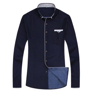 Print Casual Long Sleeve Shirt Stitching Fashion Pocket Design Fabric Soft Comfortable Men Dress Slim Fit Style 8XL MX200518