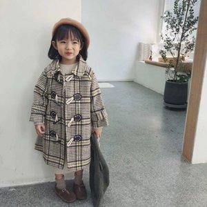 18 striped plaid medium and long single row claw buckle wool Wool lapel woolen coat girls' coat