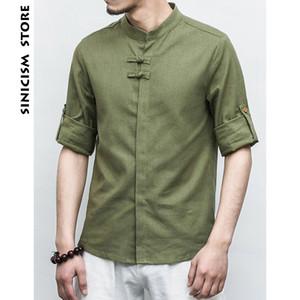 Sinicism Conservare Mens Cotone Lino Frog Shirts manicotto dei tre quarti solidi vestiti cinesi Casual Male grande formato 2019 nuove maglie