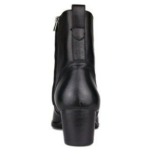 Plus Size 46 Cowboy Noir mi-mollet Bottes Hommes Fashion Side Zip bout pointu Hauts talons en cuir véritable travail Bottes homme Chaussures