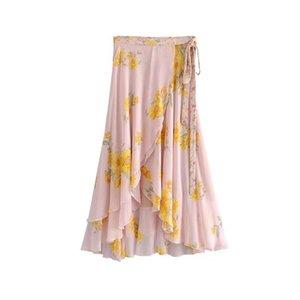 Sarong Şifon Etek Asimetrik fırfır Yüksek Bel Kemeri Uzun Etek Akan Moda 2019 Yaz Kadın Boho Çiçek Baskı