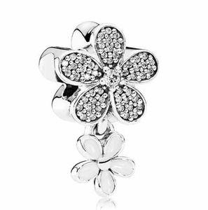 Orijinal 925 Gümüş Boncuk Charm kamaştırıcı Papatya Duo ile Kristal kolye Boncuk Fit Pandora Bileklik Gerdanlık Takı