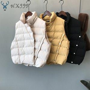 HXJJP 2019 para mujer chalecos de abrigo de invierno nuevo estilo coreano de doble botonadura Collar sólido soporte caliente Casual abajo del chaleco del algodón
