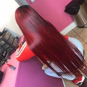 Pelucas delanteras brasileñas del cordón de Borgoña para las mujeres negras Vino rojo Sin cola Sin cola del pelo virginal recto 99j Peluca llena del cordón del pelo humano