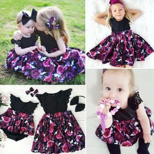 Neugeborenes Baby Mädchen Sommer Kleidung kleine Schwester Blumendruck Body große Schwester Kleider Bowknot Stirnband 2pc Baumwolle Casual Set