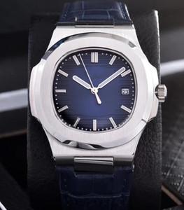5 컬러 럭셔리 노틸러스 블루 다이얼 남성 시계 40 미리 메터 스테인레스 스틸 기계식 자동 운동 남성 손목 시계 가죽 가죽