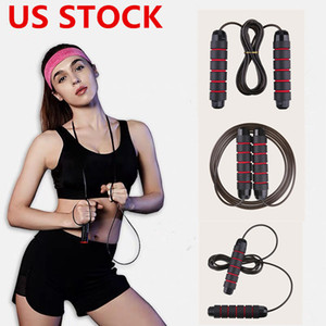 US STOCK, Aerobic Exercise Equipment Einstellbare Boxen Skipping Sport Springseil Bearing überspringen Seil-Schnur-Speed ​​Fitness Springen Seile FY7057