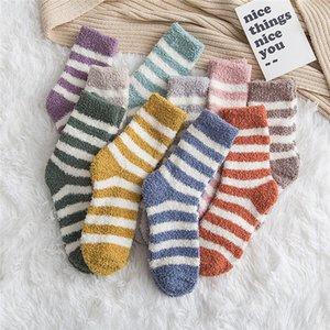 senhoras japonesas fleece coral meias casa de inverno listrado piso quente meias meia de lã meias grossas