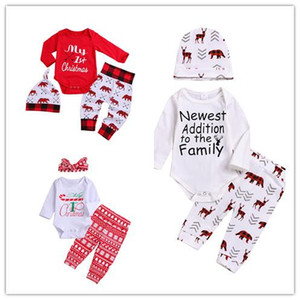 Christmas Baby Clothes Long Sleeves Letter Romper Tops+Deer Snowflake Pant+Hat or Bow Headhand 3pcs Xmas Kid Clothing set Jumpsuit