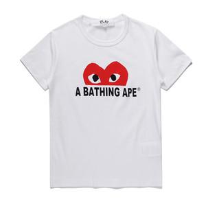 CDG caliente Juega mitad roja del corazón letras impresas Hombres camiseta 100% algodón de la manera de los pares de las camisetas de calidad superior de Verano CDG Corazón Rojo hombres de la camiseta
