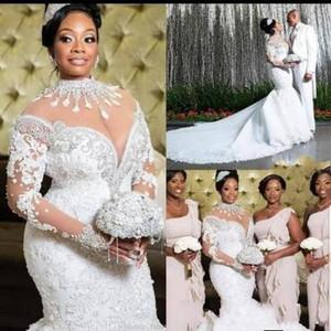 Luxe 2020 sud-africaine robes de mariée sirène cristaux de dentelle perles manches longues robe de mariée col haut Sheer cou plus la taille Vestiods