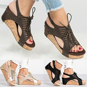 PU Rubber 3 Color Wedge Female Sandals Slim Fashion Wild Handmade Beaded Sandals Women High Heels