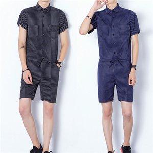 Yeni Sıcak Satış Erkekler Kısa Kol Slim Fit Moda Jumpsuit Tulumlar tulumları Pantolon Trouses
