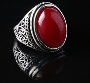 Vintage Ring - Punk Silver Plated Ring Vintage Jewelry Big Black Stone Red Jewelry For Men women Gift