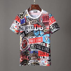 marchio italiano a righe a manica corta estate Mens Polo Moda stampato patchwork a quadri magliette breve fumetto del manicotto del Mens Abbigliamento magliette
