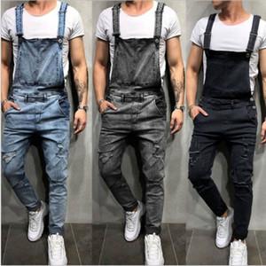 Chegada Nova Moda Mens jeans rasgados Macacões Rua afligido Buraco Denim Jardineira For Men Suspender Calças Tamanho S-3XXL