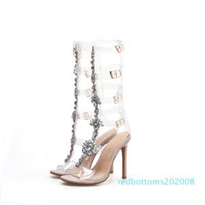 Женская Rhinestone Цветы Сандалии Open Toe Бедро-High Сандал Высокие каблуки Прозрачный Clear выдалбливают насосы R08