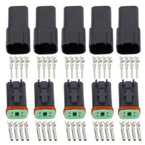 Black 5 conjuntos de 4 pines DT04-4P / alambre impermeable conector Deutsch conector eléctrico del automóvil DT06-4S