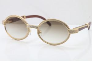الجملة ، النظارات الخشب الإطار الكامل نظارات الماس 7550178 النظارات الشمسية المستديرة خمر للجنسين مصمم النظارات الراقية العلامة التجارية الحجم: 55