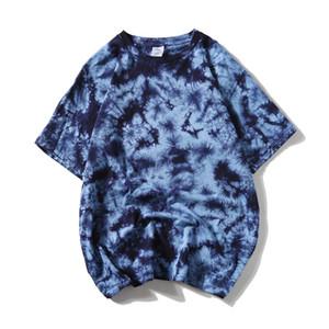 Mens Tie Dye Oversize Camisetas Verão Streetwear Hip Hop T-shirt casual tops de algodão Harajuku manga curta masculinas