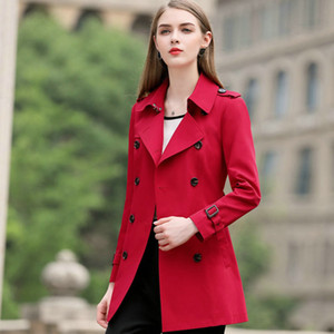 Quality Autumn New High 2020 Windbreaker Woman Fashion Slim Classic Double Breasted Trench Coat Business Outerwear Women Clothes