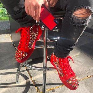 Высокое Качество Красные Замши + Mix Spikes Высокие Верхние Красные Нижние Кроссовки Обувь Для Женщин, Мужчин Известный Бренд Вскользь Прогулки
