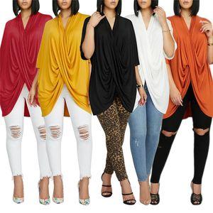 Femmes de taille Designer T-shirts Solide Couleur d'automne Casual irrégulière en vrac Batwing manches col V T-shirts Femmes Tops Mode