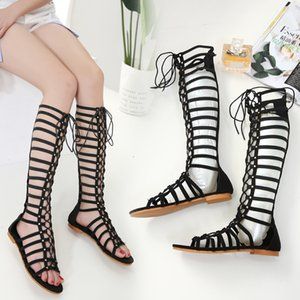 EMMA KING Roman Sandalet Bayan Düz Kesim Kayış Yüksek Boots Sandalet Seksi Diz Yüksek Sandalias Roman Kayış Düz