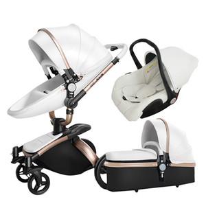 Cochecito de bebé 3 en 1 sistema de viaje plegable Combo de 360 grados de giro del asiento de coche