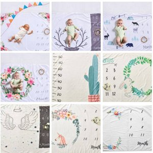 Fotografia bebê cobertores Background infantil Milestone Blanket adereços foto Letters flor swaddle Animais velo wraps DYP75 Blanket jogo mat