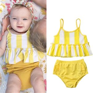 2019 Baby Girl Swimsuit Ruffle Rendas Maiôs Para Meninas Meninos Duas Peças Amarelo Listrado Swimwear Praia Biquíni Set Meninas Ternos