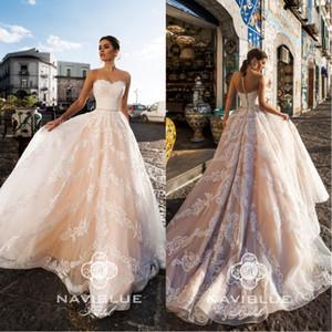 Sweety Naviblue pure cou une ligne robes de mariée en dentelle pleine de printemps 2020 Sash perlé Sash cristal robes de mariée sans manches, plus la taille robe de mariée