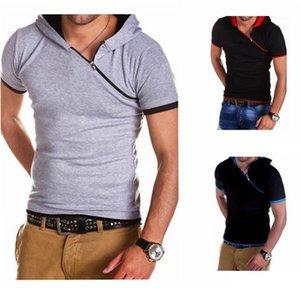 T-shirts Casual Teenager T-shirt hypoténuse Zipper capuche Designer Fashion TShirts Respirant été Mens