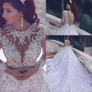 Cristalli abito di sfera Lace maniche lunghe O-collo di lusso abiti da sposa araba rilievo Abiti De Noiva abiti di cerimonia robe de Mariage BA6920