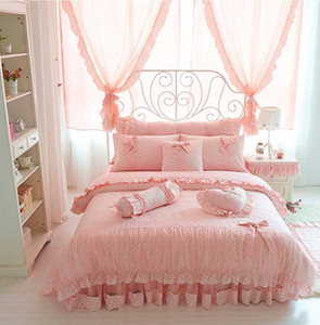 Cherry Printing 100 cotton princess bedding sets king queen size Bow design Lace quilt cover Ruffles bedspread bed linen pillowcases 4PCS