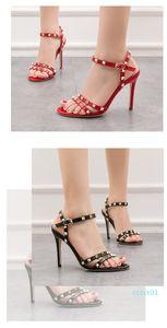 High Quality Manufacturer Elegant Style Dress High heel sandal shoes point toe women thin heel shoes Rivet Stud open-toe lady shoes ct1
