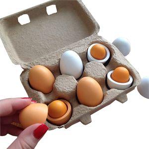 6pcs Simulation Eggs Wooden Toys Set Kids Kitchen Pretend Play Wood Food Eggs Toys Set Children Early Education Montessori Toys