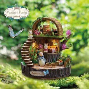DIY miniatura Dollhouse FANTASY FOREST caja de regalo con música Casa de muñecas de madera modelo Kits niños juguetes niñas regalo de cumpleaños Casa Y200413