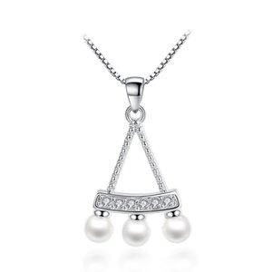 Perle Couleur argent Imitation mode pendentif en cristal Colliers Boîte chaîne pour les femmes Zircon Bijoux de cadeau de Noël de gros WHJ66
