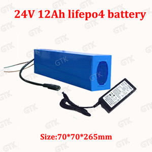 24V 12AH LiFePO4 بطارية البطارية حجم طويل 24V 12AH BMS ل24V 250W 350W دراجة نارية البطارية الكهربائية دراجة سكوتر + شاحن