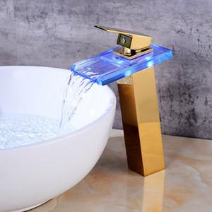Led Basin Faucets 현대 황금 욕실 수도 꼭지 폭포 수도 꼭지 단일 구멍 차가운 뜨거운 물 꼭지 검은 분지의 꼭지 믹서 도청
