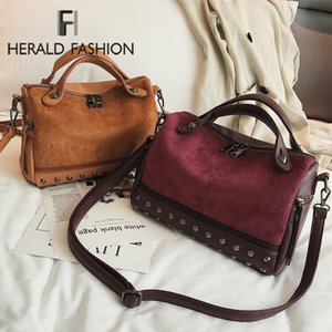 Fashion Brand Large Quality Leather Shoulder Bag New Women Top-handle Bags with Rivets Vintage Motorcycle Tote
