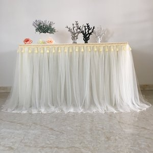 Home Tablecloth Dining Table Cover Table Cloth Tutu Dress for Wedding Reception Table Skirts Decoration Party Hotel Resturant T200707