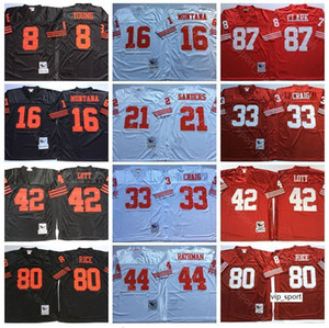 NCAA Football 16 Joe Montana 8 Steve Young Jerseys 42 Ronnie Lott Jerry Rice Deion Sanders Roger Craig Tom Rathman Dwight Clark Vermelho Branco