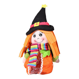 Halloween Witch Doll Shape Candy Container Trick Treat Halloween Desk Baby Room Decoration Halloween Witch Candy Zipper Bag