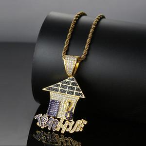 Bling bling хип-хоп мультфильм ловушка дом кулон медь микро проложить с CZ камни ожерелье ювелирные изделия для мужчин и женщин