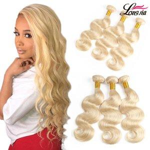 613 Corpo onda Virgin cabelo Blonde Tece cabelo humano indiano da onda do corpo 3/4 Pacotes 100% cabelo extensão humana