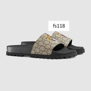 High-quality Designer Mens Summer Sandals Beach Slide Luxury Slippers Ladies Casual Shoes Print Leather Solid color US 7.5